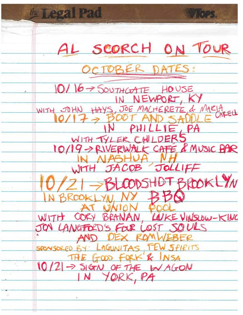 Al Scorch Tour October Brooklyn Phillie Tyler Childers Banjo Bloodshot